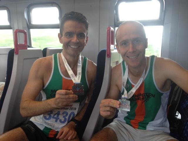 John & Myles after the Maidenhead Half Marathon